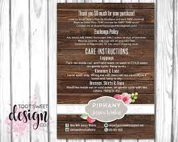 piphany care card consultant post card p phany exchange policy card postcard mailer insert enclosure card wash instructions how to care for your piphany