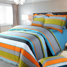 blue striped bedding orange white and blue multi color rugby stripe and pinstripe fashion boys cotton satin full queen size bedding sets blue and white