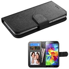 insten black leather wallet case for iphone se 5 5c 5s ipod touch 6th 5th generation