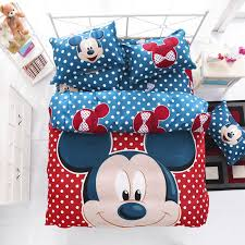 red mickey and minnie mouse full size kids cartoon bedding set cotton bed sheet linens duvet
