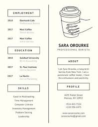 Barista Resume Beauteous Ivory Coffee Minimalist Resume Templates By Canva