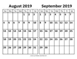 August Calandar August And September 2019 Calendar Printable Calendar 2019