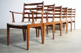 vibrant set of 6 mid century danish modern contoured teak dining chairs