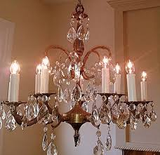 trendy antique crystal chandelier large 5 arm 10 light made in spain solid throughout brass and