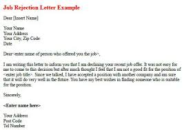 job rejection letter example