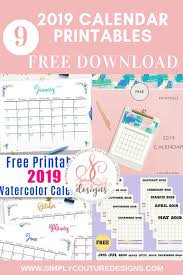 Calendar Free Downloads Free Printable 2019 Calendar With Holidays Simply Couture Designs
