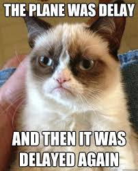 the plane was delay and then it was delayed again - Grumpy Cat ... via Relatably.com