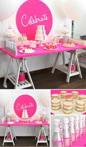 Neon Pink Celebrate themed birthday party + dessert table via Kara's Party  Ideas KarasPartyIdeas.com