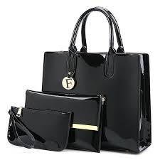 3 picecs patent leather handbag bag