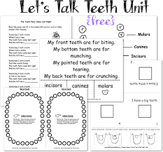 Small Picture Dental Health and Teeth Printable Pages and Worksheets A to Z