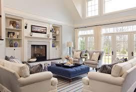 Living Room Ottomans Living Room Mantle Fireplace White Ottoman Ceiling Light Shag Rug