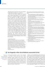 sex disparity in the risk of diabetes associated stroke the lancet first page of article
