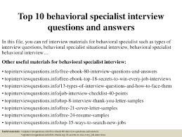 Behavioral Based Top 10 Behavioral Specialist Interview Questions And Answers