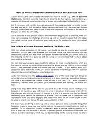 how to write a personal statement which best reflects you by how to write a personal statement which best reflects you just by hearing the term personal statement for medical school e g amcas personal statement