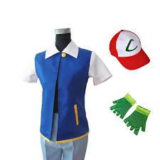 anime ash ketchum trainer costume cosplay unisen shirt jacket gloves hat original genuine blue