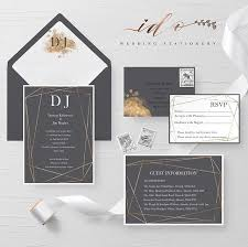 Wedding Invitation Folder Charcoal Grey And Gold Dust Wedding Invitation Suite