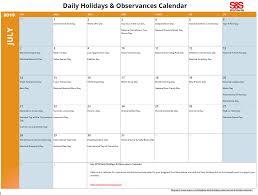 printable daily calendars july daily holidays observances printable calendar s s blog