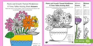 Growth Tables Plants And Growth Themed Mindfulness 8 Times Tables