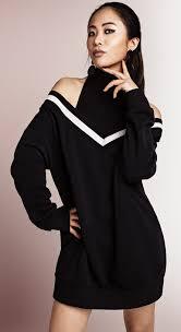 Shop Sweater Dresses Online  Black Off Shoulder Dress  S-TEA