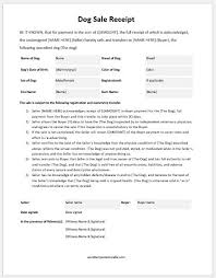 Dog Receipt Dog Sale Receipt Template For Ms Word Formal Word Templates
