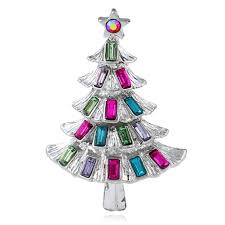 Christmas Brooches With Lights Amazon Com Qinlee Crystal Christmas Tree Shape Brooches Pin