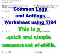 Common Logs Logarithms And Antilogs Worksheet Algebra 2