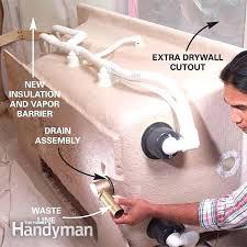 install bathtub plumbing how to install a whirlpool tub the family handyman bathtub drain installation install install bathtub