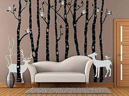 winter tree wall decals birch owl tree decal winter bare tree wall sticker  for living room .