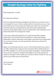 apology letter for fighting