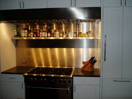 Stainless Steel Backsplash Kitchen Stainless Steel Backsplash With Custom Shelf Brooks Custom