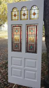 7 edwardian 5 panel front door 4 wooden inserts with traditional stained glass
