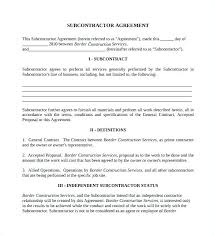 Subcontractor Contract Template Beauteous Contractor Subcontractor Agreement Form Carofy