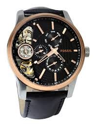 fossil watch men leather watch bilds fossil watch men leather fossil me1099 mechanical twist black dial black leather strap men