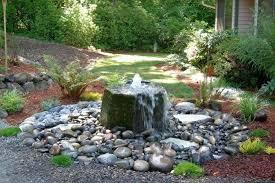backyard garden with flagstone fountain and river rocks wonderful stone fountains near me o33