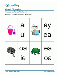 Kindergarten phonics worksheets will help grow your child's reading skills with fun and memorable this worksheet provides practice in reading digraphs and then blending the rest of the word. Vowel Digraph Worksheets For Preschool And Kindergarten K5 Learning