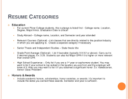 RESUME CATEGORIES ...