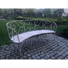 1920s curved iron garden bench