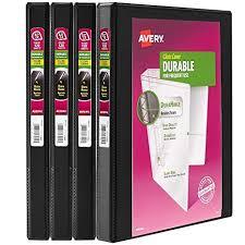 Avery Durable View Binder 1 2 Inch Slant Rings 120 Sheet Capacity Durahinge Black Multi Pack Of 4 05736