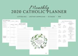 2020 Catholic Planner Monthly Printable Monthly Planner Catholic Liturgical Year Calendar Printable Catholic Planner Catholic Woman