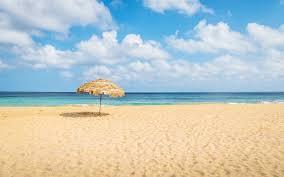beach.  Beach Beach Umbrella And Tropical Turquoise Sea At Cacimba Do Padre   Fernando De Noronha In E
