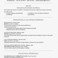 Waiter Waitress Resume And Cover Letter Examples Cash