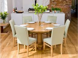round dining room table for 6. Place Grey Lather Chairs And Round Dining Table For 6 In Minimalist Room On Laminate R