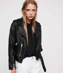 women s balfern leather biker jacket black image 1