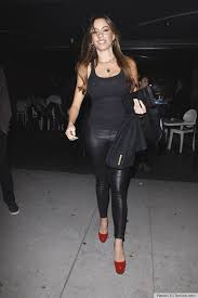 sofia vergara leather pants sheer tank red heels are a whole lotta y photo