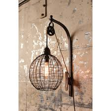wire sphere one light wall sconce with pulley kalalou 1