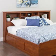 Details about Headboard King Size Wood Bed Frame Shelves Cherry Bedroom Bookcase Storage