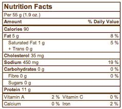 nutrition facts here to view