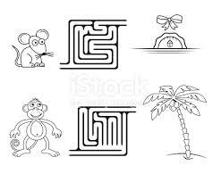 Vierkante Doolhof Spel Voor Kinderen Kleurplaat Stockvectorkunst En