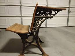 antique school desk before refinishing