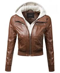 women s faux leather er military style hooded jacket plus size